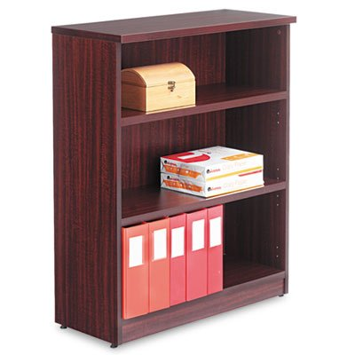 - Alera Valencia Series Bookcase/Storage Cabinet, 3 Shelves, 32 W by 14 1/2 D by 39 1/2 H, Mahogany