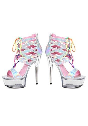 Scarpe Ellie E-609-sandalo Caprice Con Lacci Arcobaleno Ologramma Argento