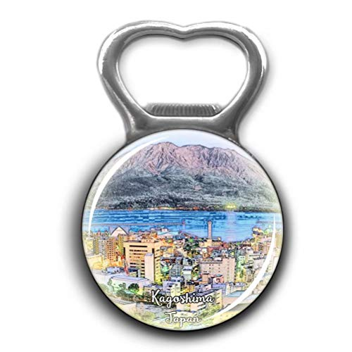 Kagoshima Japan Opener Metal Fridge Magnet Crystal Glass Round Beer Bottle Opener City Souvenir Home Kitchen Decoration - Japan Kagoshima