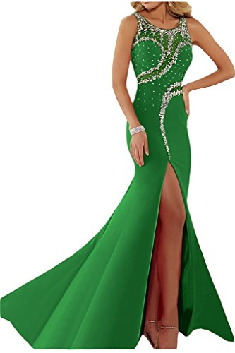 Ivydressing Vestido de fiesta para mujer, abertura, cuello redondo, pedrería Verde