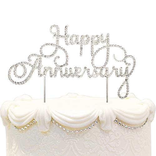 Happy Anniversary Cake Topper Wedding Anniversary Crystal Rhinestone Party Decoration Silver -