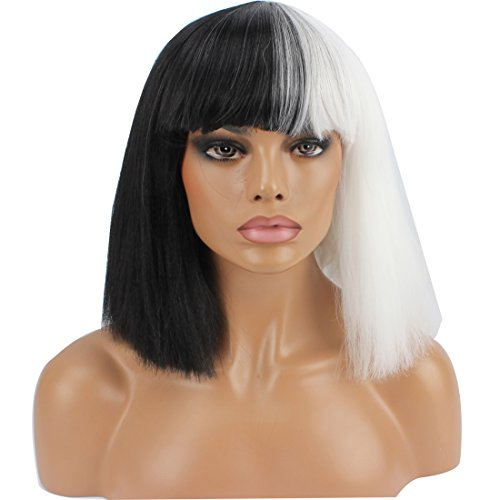 [WeKen Halloween Wig Women Short Bob Kinky Straight Full Bangs Synthetic Black and White] (Black Bob Wig With Bangs)