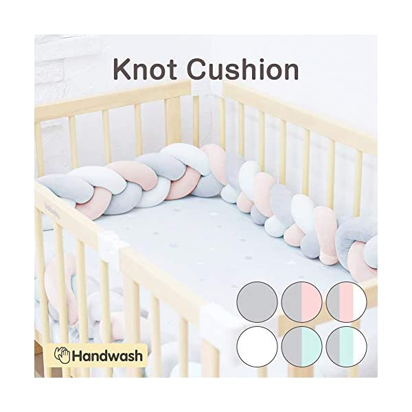Wonder Space Soft Knot Plush Pillow – Baby Crib Bumper, Fashion Nursery Cradle Decor for Baby Toddler and Childern (Pink/Grey/White, 118IN / 3M)