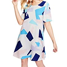 Challyhope Women O Neck Printed Short Sleeve Dress Loose Casual Beach Party Dress