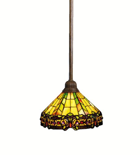Kichler  65098 1-Light Phoenix Art Glass Mini Pendant, Dore Bronze