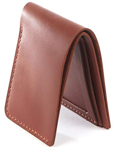 Handmade Full Grain Leather Bifold Slim Front Pocket Wallet Holder for Cash, ID and Cards (Brown ID glossy)