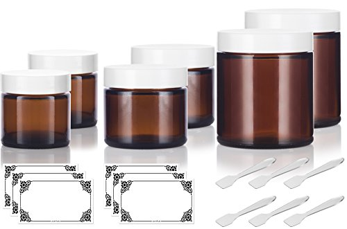 Therapy 4 Ounce Jar - 6 piece Amber Glass Straight Sided Jar Multi Size Set : Includes 2-1 oz, 2-2 oz, and 2-4 oz Amber Glass Jars with White Lids + Spatulas and Labels for Aromatherapy, Essential Oils, Travel and Home
