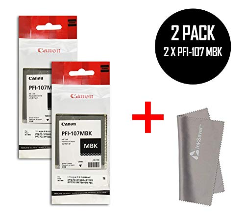 2 x PFI-107MBK Pigment Matte Black Ink Tank for the iPF670, iPF680, iPF685, iPF780 iPF770 iPF785 Inkjet Printers, 130 ml. by Canon + InkSAVER MicroFiber LCD Screen Cleaning Cloth