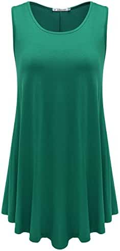 JollieLovin Women's Plus Size Sleeveless Solid Basic Comfy Summer Tunic Tank Top with Flare Hem