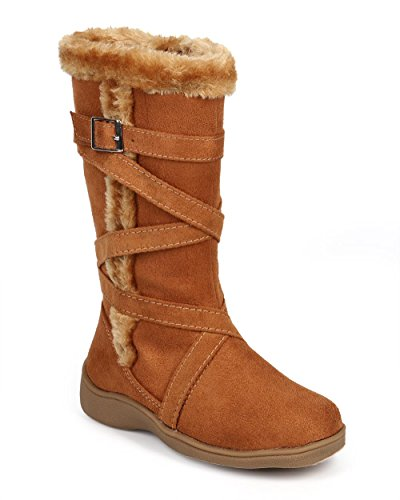 Suede Fur Criss Cross Strappy Winter Boot (Toddler/Little Girl/Big Girl) DC59 - Camel (Size: Little Kid 11)
