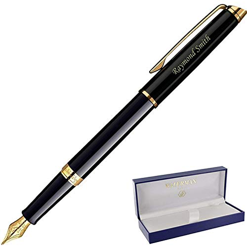 Dayspring Pens | Personalized WATERMAN Hemisphere Fountain Pen Medium Nib - Black. Custom Engraved Fast, with Waterman pen gift case and starter ink.