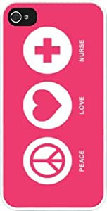 Rikki KnightTM Peace Love Nurse Tropical Pink Color Design iPhone 5 & 5s Case Cover (White Rubber with bumper protection) for Apple iPhone 5 & 5s