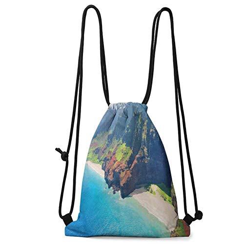 Multi-function Bag Hawaiian,Na Pali Coast on Kauai Island on Hawaii Sunny Day Seaside Mountain Skyline, Blue Green Brown W13.8 x L17 Inch Practical Unise