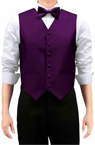 28b78ba69c Retreez Men's Solid Color Woven Vest with Tie, Bow Tie 3 Pieces Gift Set