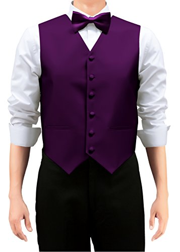 (Retreez Men's Solid Color Woven Men's Suit Vest, Dress Vest Set with Matching Tie and Pre-Tied Bow Tie, 3 Pieces Gift Set as a, Birthday Gift - Dark Purple, Large)