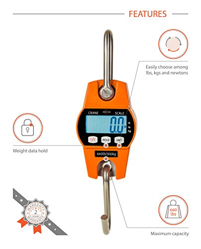 Digital Hanging Crane Scale 660 Lb 300 Kg with Accurate Reloading Spring Sensor for Hunting, Farm or Construction by Modern Step (Burnt Orange, Plastic Case)