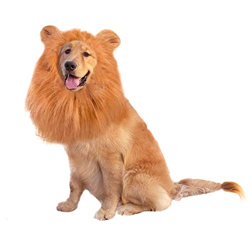G Lake Dog Lion Mane, Realistic Funny Pet Lion Mane Wig Costumes with Ears, Adjustable Head Circumference for Medium to Large Size Dogs- Perfect Pet Gift for Halloween Christmas & Cosplay Party