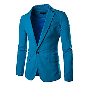 Pishon Men's Linen Blazer Lightweight Casual Solid One Button Slim Fit Sport Coat