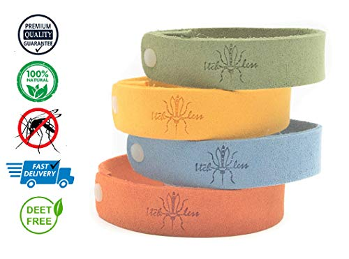 Itchless Mosquito Repellent Bracelet 12pk 100% Essential Oil Non Toxic, Camping, Safe Deet-Free Band, Soft Fiber Material for Kids & Adults, Potent, Keep Mosquitos, Tics, Flies, Gnats, Fleas - Headband Barrier