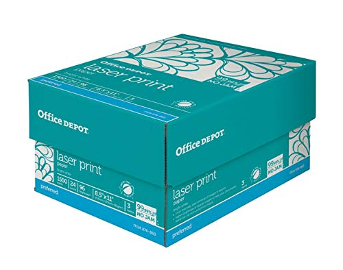 - Office Depot Laser Print Paper, 8 1/2in. x 11in, 24 Lb, 30% Recycled, 500 Sheets Per Ream, Case of 3 Reams, 751440