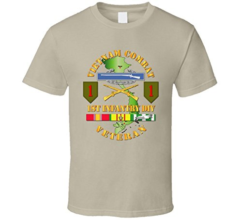 XLARGE - Army - Vietnam Combat Infantry Veteran W 1st Inf Div Ssi V1 T-shirt - Tan