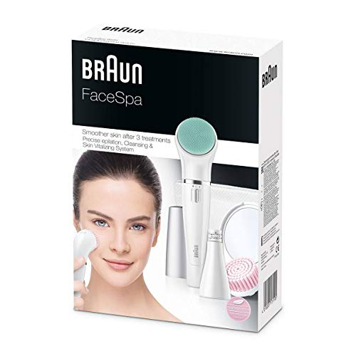 (Braun Face Spa 853 3in1 Facial Epilator, Cleansing and Skin Revitalizing System, With Lighted Mirror and Beauty)