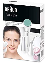 Braun Face Spa 853 3in1 Facial Epilator, Cleansing and Skin Revitalizing System, With Lighted Mirror and Beauty Pouch