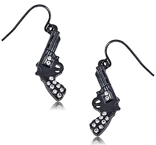 Trendy Black Hematite Tone Clear Crystals Handgun/Gun Pistol Dangle Earrings for Teens ()
