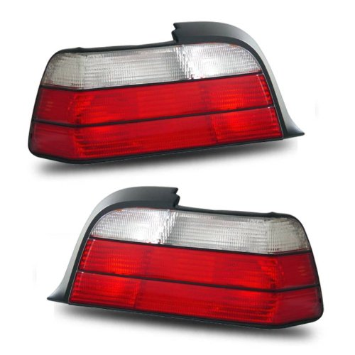 SPPC 2 Door Taillights Red/Clear Assembly Set For BMW 3 Series E46 - (Pair) Driver Left and Passenger Right Side Replacement - Bmw E36 325is Coupe