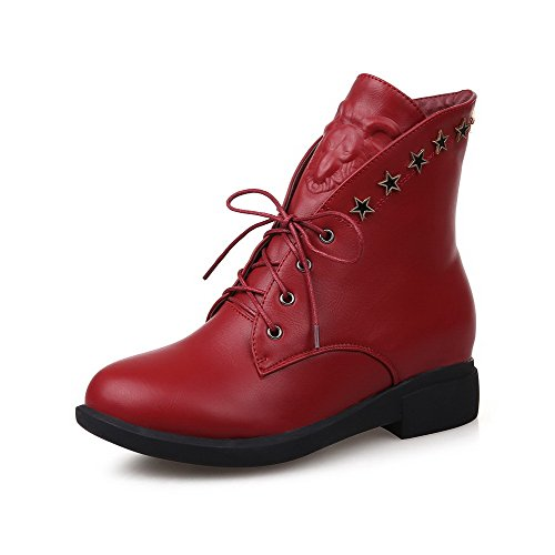 WeenFashion Women's Round Toe Kitten Heels Mid Top Solid Boots, Red, - Road Military Mall