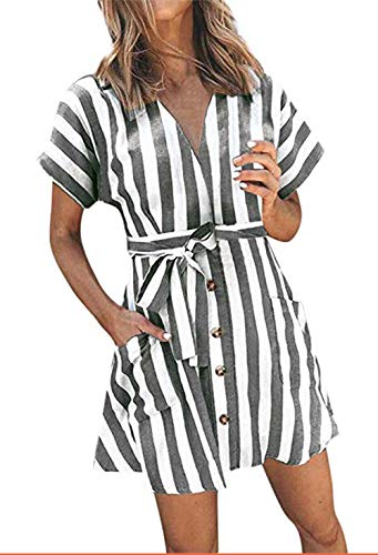 (OEUVRE Women V Neck Short Sleeve Wrap Tie Waist Button Front Shirt Dress Striped Pocket Dress with Belt Grey XL)