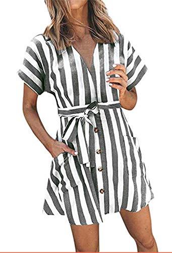 OEUVRE Women V Neck Short Sleeve Wrap Tie Waist Button Front Shirt Dress Striped Pocket Dress with Belt Grey XL