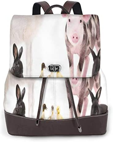 Women's Leather Backpack,Studio Shot of Cute Baby Domestic Creatures Ducks Pig Goat and Bunnies,School Travel Girls Ladies Rucksack
