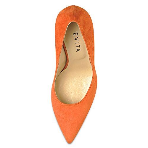 Evita Shoes Alina Damen Pumps Rauleder Orange