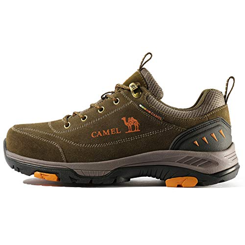 6609b3bbbed CAMEL CROWN Mens Leather Hiking Shoes Breathable Lightweight Outdoor  Trekking Shoes Non-Slip Walking Shoes