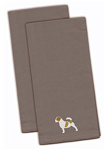 (Caroline's Treasures BB3407GYTWE Jack Russell Terrier Gray Embroidered Kitchen Towel (Set of 2), 28