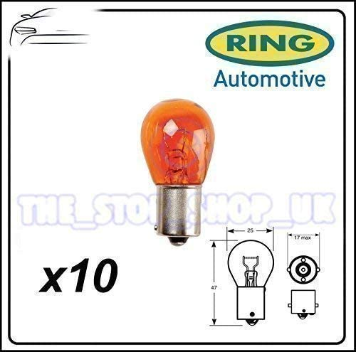 Ring R581 Indicator Light Bulb Trade Pack 10 Pieces 581 12V 21W Amber BAU15s OSP