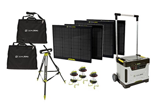 Goal-Zero-Yeti-1250-Solar-Generator-Kit-with-Cart-4-Boulder-30-solar-panels-2-Panel-Carrying-Cases-1-Solar-Tripod-Holds-4-Panels-3-Lighthouse-250-10-Boulder-Clips