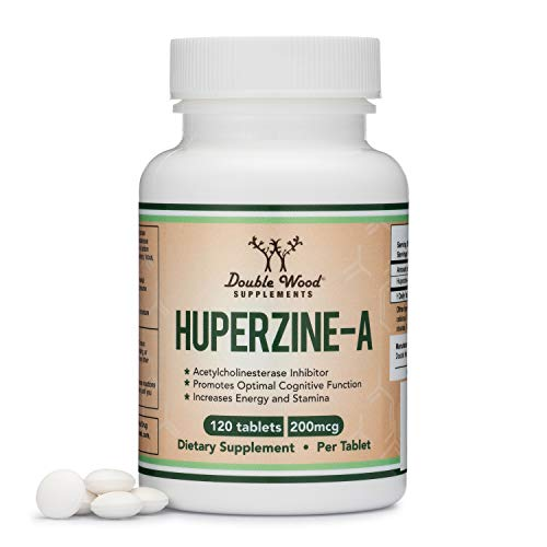 Huperzine A 200mcg (Third Party Tested) Made in The USA, 120 Tablets, Nootropics Brain Supplement to Promote Acetylcholine, Support Memory and Focus by Double Wood Supplements