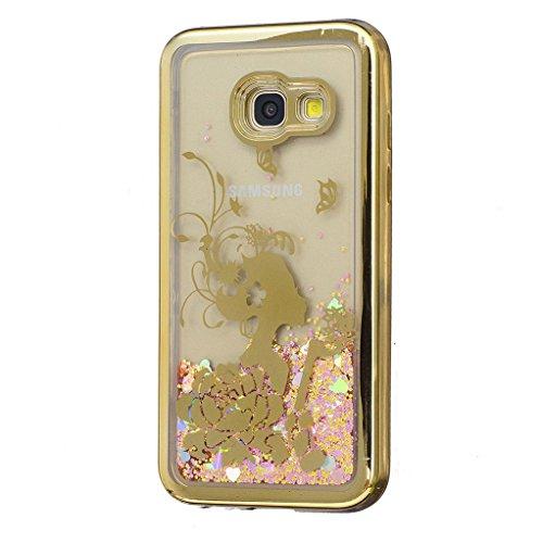 Trumpshop Smartphone Carcasa Funda Protección para Samsung Galaxy A3 (2017) + Torre Eiffel + Fina de TPU Transparent Liquido Dinámica Sparkle Estrellas Quicksand Caja Protectora Niña bonita
