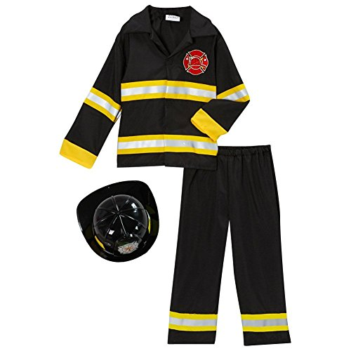 Storybook Wishes Fireman Fire Fighter Halloween Dressup Costume w Hat (6/8, Black) -