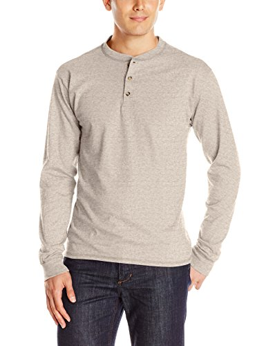 Hanes Beefy-T Men's Long-Sleeve Henley Pebblestone Heather L