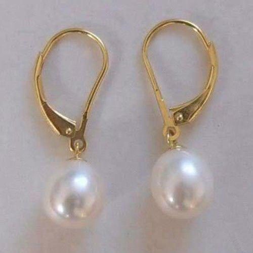 Gozebra(TM) 8-9mm Natural White Akoya Cultured Pearl 14K GP Hook Dangle Earrings AAA
