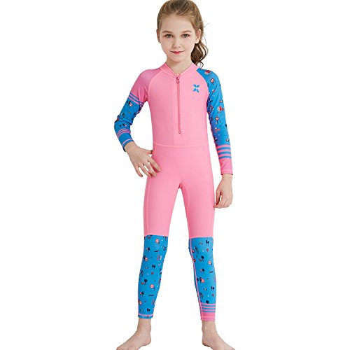 (Dark Lightning Girls Full Body Suits, Kids UV Protective Swimwear, One Piece Long Sleeve Lycra Rash Guard Technical Swimsuits for Child, Pink, M Size)