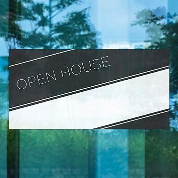 Basic Black Window Cling 24x12 Open House 5-Pack CGSignLab