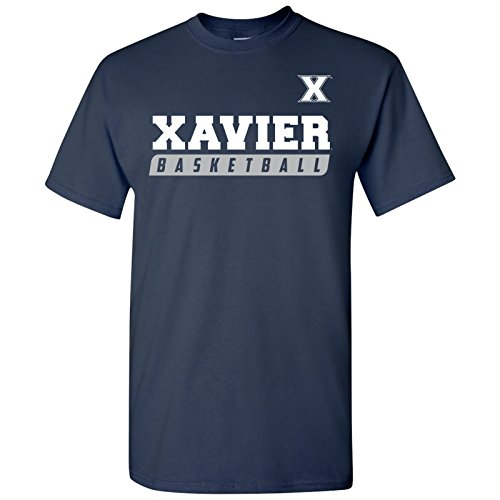 Ugp Campus Apparel As35   Xavier Musketeers Basketball Slant T Shirt   Medium   Navy