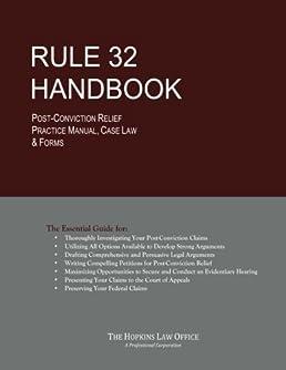 41VXjk6mkPL._SX258_BO1204203200_ rule 32 handbook post conviction relief practice manual, case law