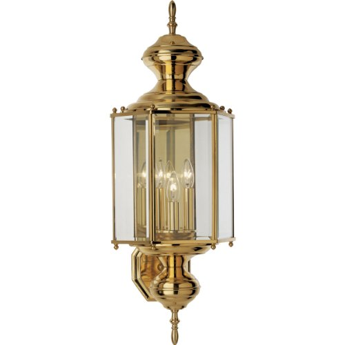 10 Brassguard Lantern - Progress Lighting P5730-10 Hexagonal Wall Lantern with Clear Beveled Glass and Brassguard Finish, Polished Brass