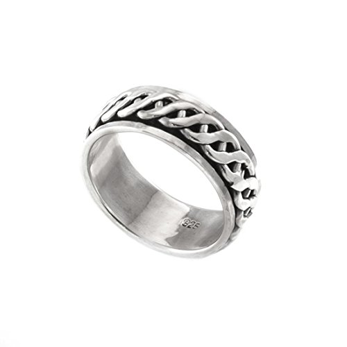 Silverly Mens Women's .925 Sterling Silver Celtic Rope Spinner Thumb -