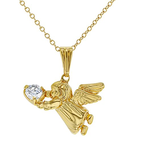 18k Gold Plated Guardian Angel Pendant Necklace Kids Girls Children CZ 16
